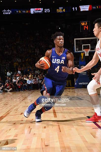 Jimmy Butler of the USA Basketball Men's National Team drives to the basket against China on July 26 2016 at ORACLE Arena in Oakland California NOTE...