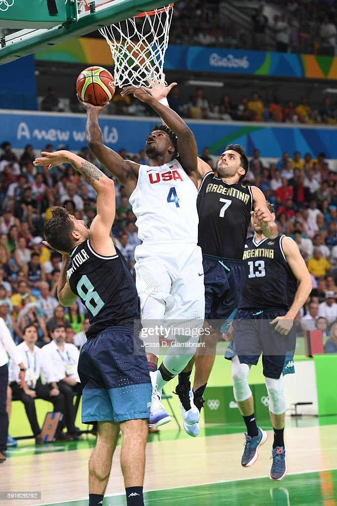 Jimmy Butler of the USA Basketball Men's National Team goes to the basket against Facundo Campazzo of Argentina and Nicolas Laprovittola of Argentina...