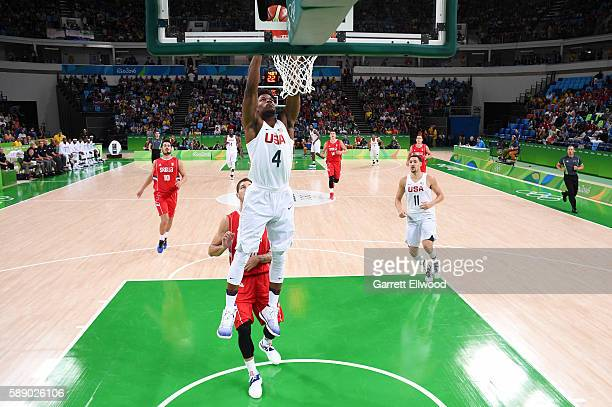 Jimmy Butler of the USA Basketball Men's National Team goes up for a dunk against Serbia on Day 7 of the Rio 2016 Olympic Games at Carioca Arena 1 on...