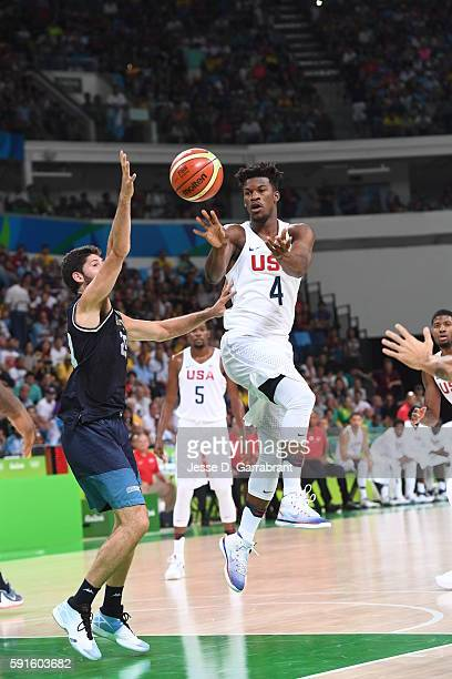 Jimmy Butler of the USA Basketball Men's National Team passes the ball against Argentina during the Quarterfinals on Day 12 of the Rio 2016 Olympic...