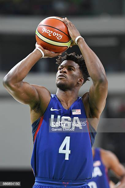 Jimmy Butler of the USA Basketball Men's National Team shoots a free throw against China on Day 1 of the Rio 2016 Olympic Games at Carioca Arena 1 on...