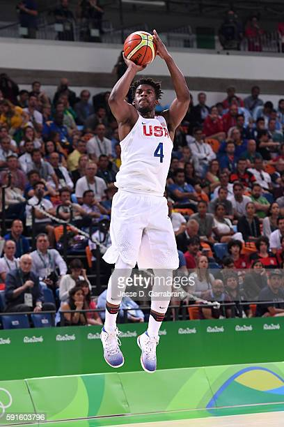 Jimmy Butler of the USA Basketball Men's National Team shoots against Argentina during the Quarterfinals on Day 12 of the Rio 2016 Olympic Games on...