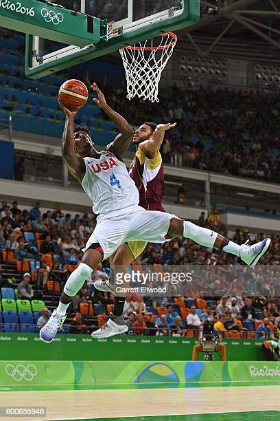 Jimmy Butler of the USA Basketball Men's National Team shoots against Venezuela on Day 3 of the Rio 2016 Olympic Games at Carioca Arena 1 on August 8...
