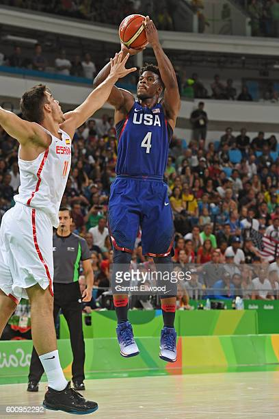 Jimmy Butler of the USA Basketball Men's National Team shoots the ball against Spain during the Semifinals on Day 14 of the Rio 2016 Olympic Games on...