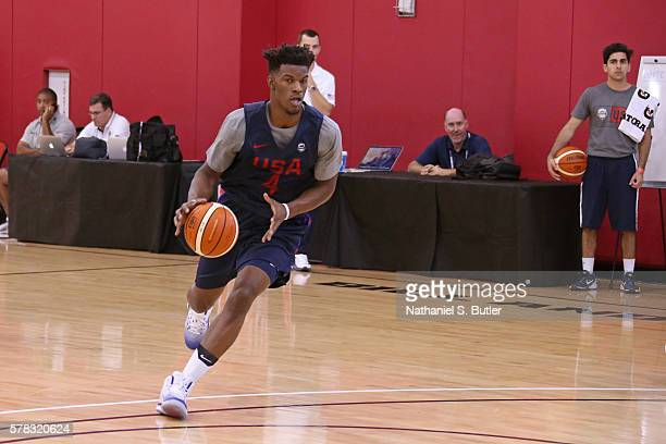 Jimmy Butler of the USA Men's National Team dribbles the ball during practice on July 19 2016 at Mendenhall Center on the University of Nevada Las...