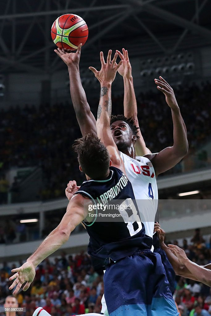 Jimmy Butler of United States goes up for a shot against Nicolas Laprovittola of Argentina during the Men's Basketball Quarterfinal game at Carioca...
