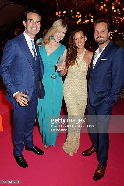 APPLIES Jimmy Carr Karoline Copping Sarah Boe and Alfie Boe attend the Woodside End of Summer party to benefit the Elton John AIDS Foundation...