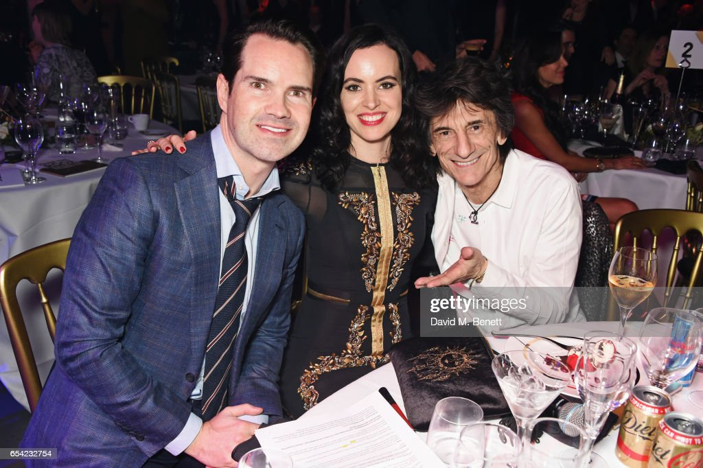 Jimmy Carr, Sally Wood and Ronnie Wood attend the Roundhouse Gala at The Roundhouse on March 16, 2017 in London, England.