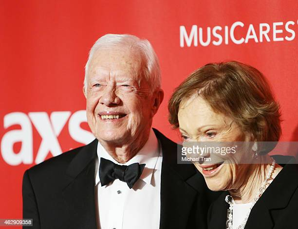 Jimmy Carter and Rosalynn Carter arrive at the 2015 MusiCares Person of The Year honoring Bob Dylan held at Los Angeles Convention Center on February...