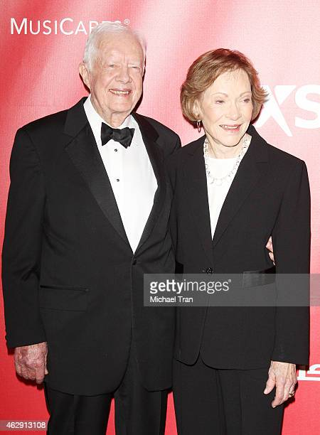 Jimmy Carter and wife Rosalynn Carter arrive at the 2015 MusiCares Person of The Year honoring Bob Dylan held at Los Angeles Convention Center on...