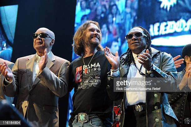 Jimmy Carter of The Blind Boys of Alabama Bo Bice and Walter Orange of The Commodores perform onstage during Bama Rising A Benefit Concert For...