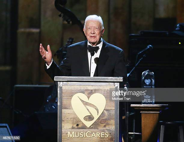 Jimmy Carter speaks onstage during the 2015 MusiCares Person of The Year honoring Bob Dylan held at Los Angeles Convention Center on February 6 2015...