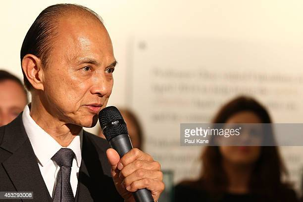 Jimmy Choo addresses guests before officially opening The Story of Professor Jimmy Choo OBE at Claremont Quarter on August 7 2014 in Perth Australia