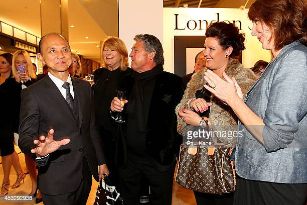 Jimmy Choo greets guests on arrival to officially open The Story of Professor Jimmy Choo OBE at Claremont Quarter on August 7 2014 in Perth Australia