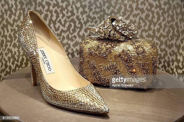 Jimmy Choo high heel shoes handbags and purses are displayed during Jimmy Choo x DKMS Charity Cocktail Party at Jimmy Choo on October 17 2016 in New...