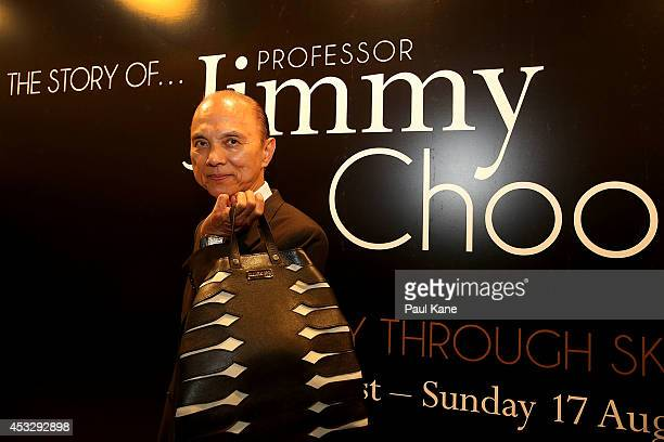 Jimmy Choo poses after officially opening The Story of Professor Jimmy Choo OBE at Claremont Quarter on August 7 2014 in Perth Australia
