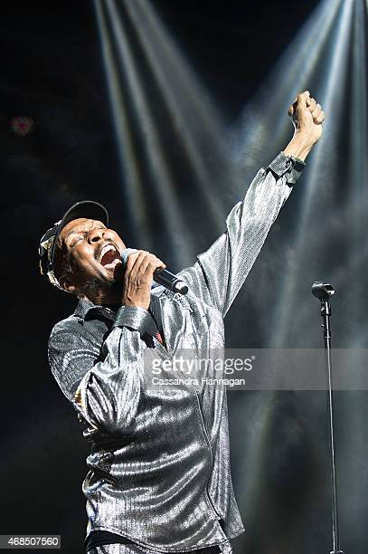 Jimmy Cliff performs live for fans at the 2015 Byron Bay Bluesfest on April 3 2015 in Byron Bay Australia