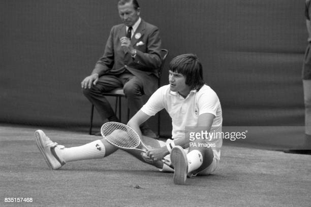 Jimmy Connors down and on his way to a surprise defeat to fellow American Arthur Ashe in the Wimbledon Men's Single Competition Ashe became the first...