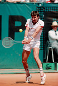 Jimmy Connors hits a backhand stroke during a match in the 1984 French Open