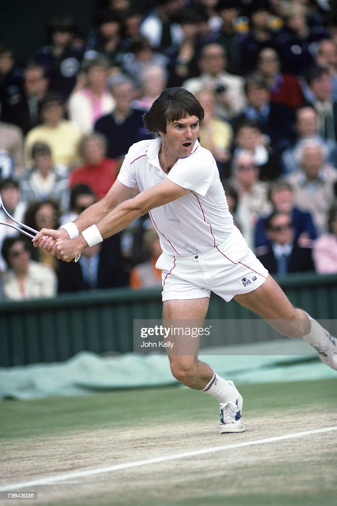 Jimmy Connors hits a two handed backhand to John McEnroe in the 1982 men's single's final