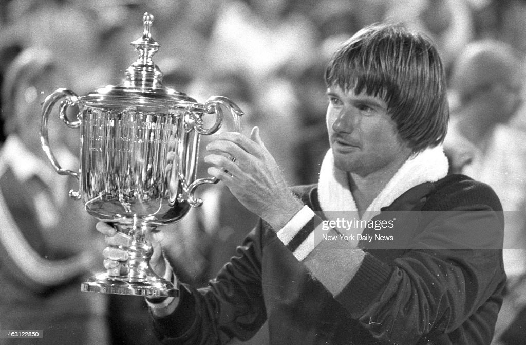Jimmy Connors holds cup after beating Czech ace Ivan Lendl 63 62 46 64 to win the US Open in Flushing Meadows Queens It was Connors fourth Open title