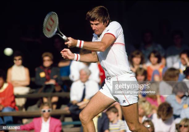 Jimmy Connors of the USA in action during a men's singles match at the Wimbledon Lawn Tennis Championships in London circa July 1984 Connors lost in...