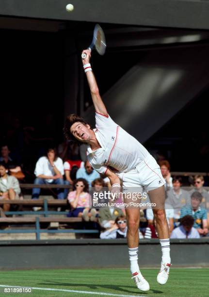 Jimmy Connors of the USA in action during a men's singles match at the Wimbledon Lawn Tennis Championships in London circa July 1984 Connors was...