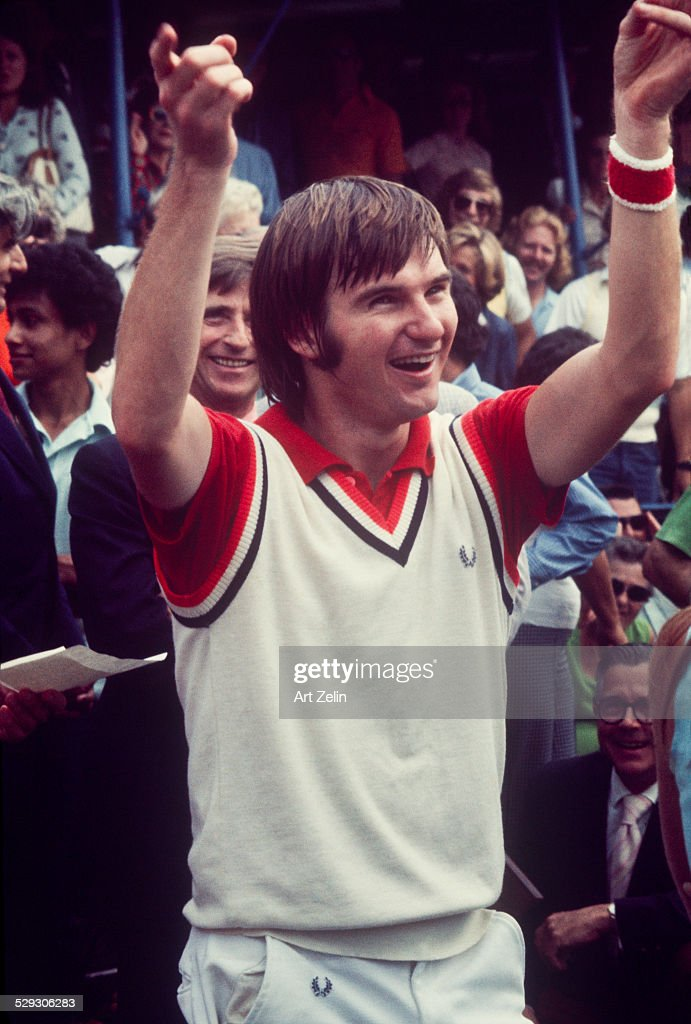 <a gi-track='captionPersonalityLinkClicked' href=/galleries/search?phrase=Jimmy+Connors&family=editorial&specificpeople=157507 ng-click='$event.stopPropagation()'>Jimmy Connors</a> playing at the 8th Annual RFK Pro-Celebrity Tennis Tournament Flushing Meadows Park; circa 1970; New York.