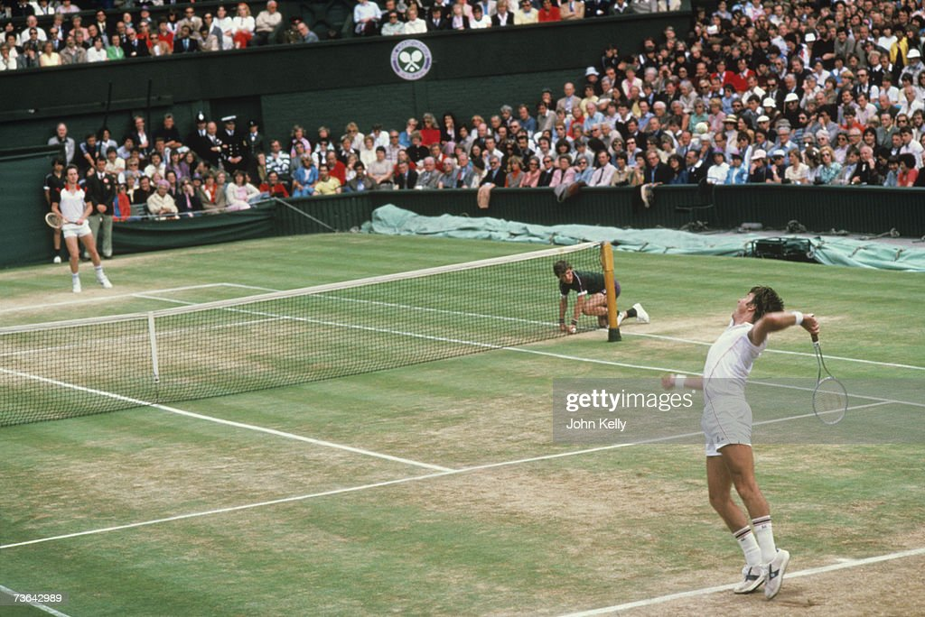 Jimmy Connors serves to John McEnroe in the 1982 men's single's final.