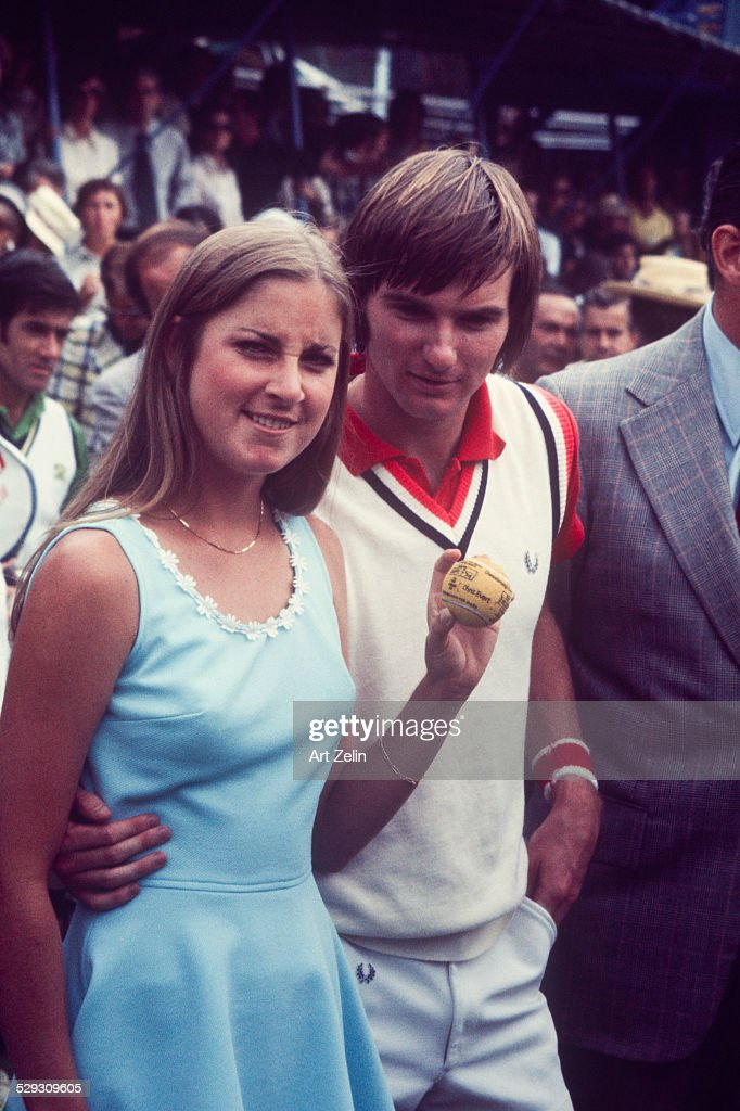 <a gi-track='captionPersonalityLinkClicked' href=/galleries/search?phrase=Jimmy+Connors&family=editorial&specificpeople=157507 ng-click='$event.stopPropagation()'>Jimmy Connors</a> with his girlfriend <a gi-track='captionPersonalityLinkClicked' href=/galleries/search?phrase=Chris+Evert+-+Tennis+Player&family=editorial&specificpeople=206410 ng-click='$event.stopPropagation()'>Chris Evert</a> at the 8th Annual RFK Pro-Celebrity Tennis Tournament 8-25-1979 Flushing Meadows Park.
