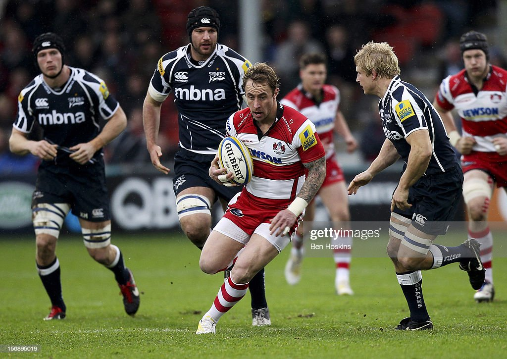 <a gi-track='captionPersonalityLinkClicked' href=/galleries/search?phrase=Jimmy+Cowan&family=editorial&specificpeople=541534 ng-click='$event.stopPropagation()'>Jimmy Cowan</a> of Gloucester breaks through the Sale defence during the Aviva Premiership match between Gloucester and Sale Sharks at the Kingsholm Stadium on November 24, 2012 in Gloucester, England.