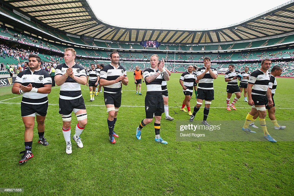 <a gi-track='captionPersonalityLinkClicked' href=/galleries/search?phrase=Jimmy+Cowan&family=editorial&specificpeople=541534 ng-click='$event.stopPropagation()'>Jimmy Cowan</a> of the Barbarians (C) does a lap of honour with team mates after victory in the Rugby Union International Match between England and The Barbarians at Twickenham Stadium on June 1, 2014 in London, England.