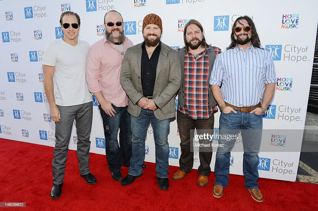 Jimmy De Martini, John Driskell Hopkins, Zac Brown, Coy Bowles and Clay Cook of the Zac Brown Band arrive at City Of Hope Honors Clear Channel CEO Bob Pittman With Spirit Of Life Award - Red Carpet at The Geffen Contemporary at MOCA on June 12, 2012 in Los Angeles, California.