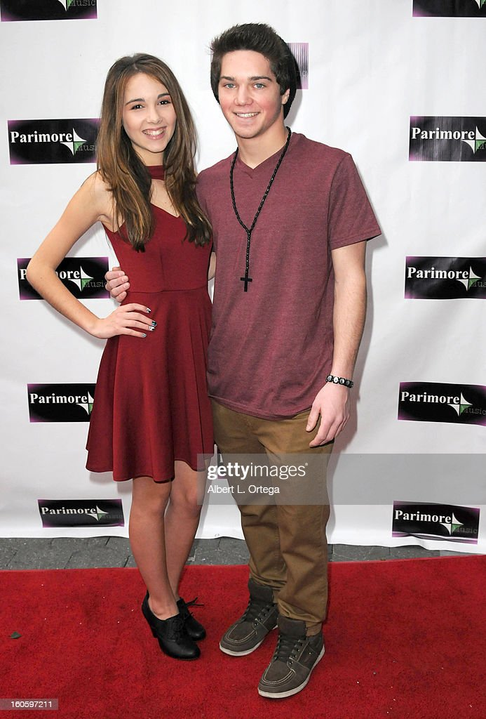 Jimmy Deshler and Haley Pullos arrive for the All Ages Valentine Bash 2013 held at Infusion Lounge on February 2, 2013 in Universal City, California.