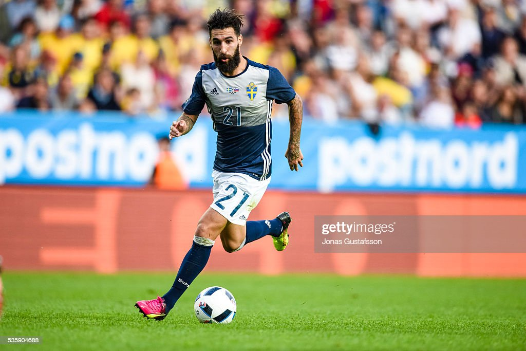 Jimmy Durmaz of Sweden during the international friendly match between Sweden and Slovenia May 30, 2016 in Malmo, Sweden.
