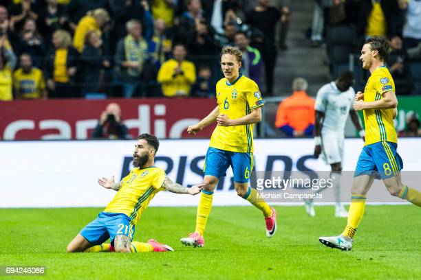 Jimmy Durmaz of Sweden scores the 11 equalizing goal during the FIFA 2018 World Cup Qualifier between Sweden and France at Friends Arena on June 9...