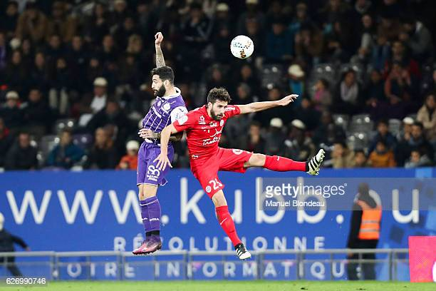 Jimmy Durmaz of Toulouse and Mathieu Deplagne of Montpellier during the Ligue 1 match between Toulouse FC and Montpellier Herault SC at Stadium...