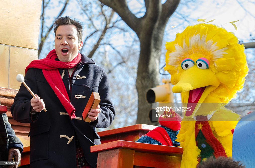 Jimmy Fallon and Big Bird attend the 87th annual Macy's Thanksgiving Day parade on November 28, 2013 in New York City.