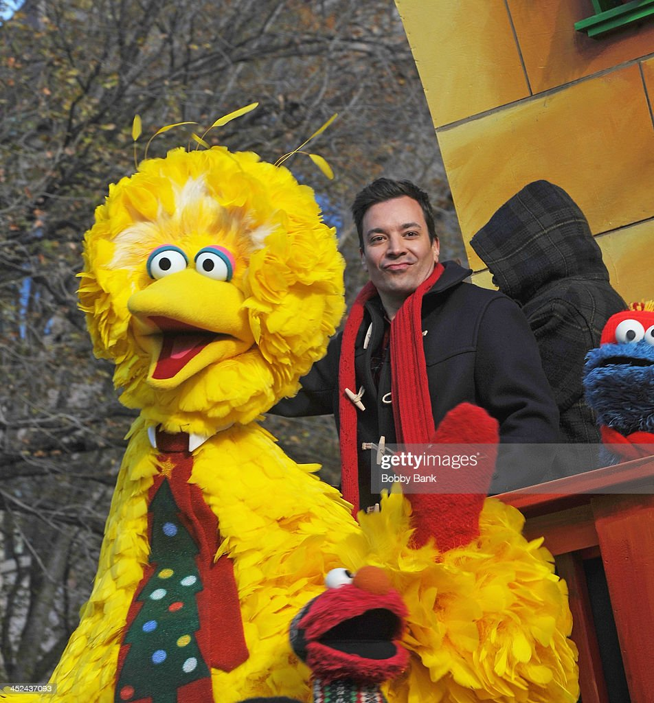 Jimmy Fallon and Bigbird from 'Sesame Street' attends the 87th annual Macy's Thanksgiving Day parade on November 28, 2013 in New York City.