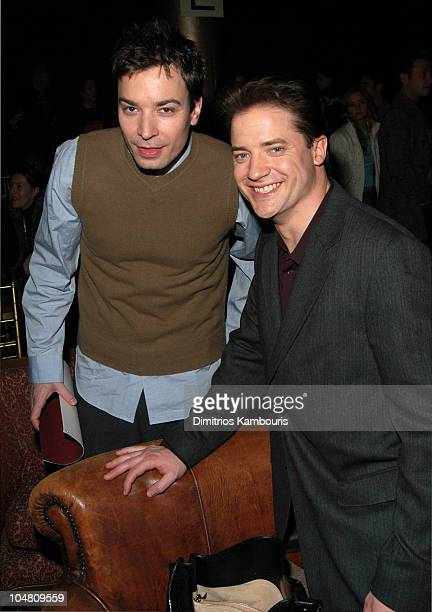 Jimmy Fallon and Brendan Fraser during MercedesBenz Fashion Week Fall 2003 Collections John Varvatos Front Row at Altman Building in New York City...