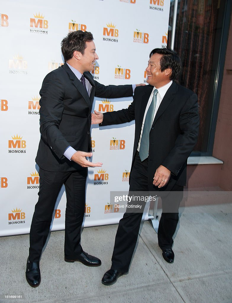 Jimmy Fallon and Chef Ming Tsai attends The Mario Batali Foundation Inaugural Honors Dinner at Del Posto Ristorante on September 9, 2012 in New York City.