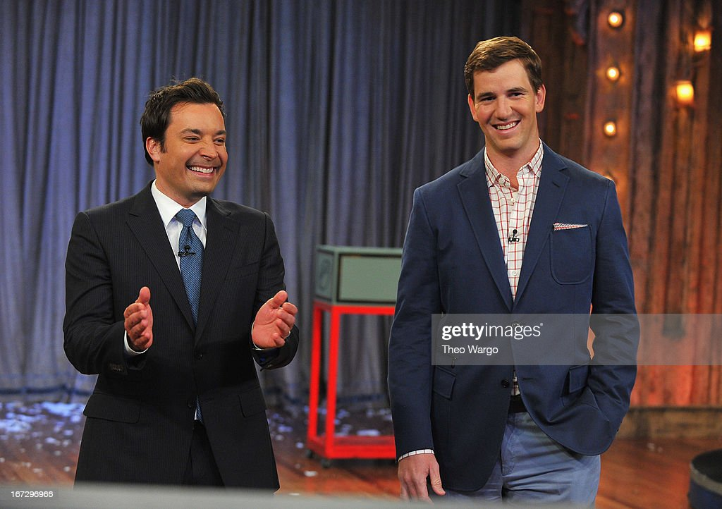 Jimmy Fallon and <a gi-track='captionPersonalityLinkClicked' href=/galleries/search?phrase=Eli+Manning&family=editorial&specificpeople=202013 ng-click='$event.stopPropagation()'>Eli Manning</a> during a taping of 'Late Night With Jimmy Fallon' at Rockefeller Center on April 23, 2013 in New York City.