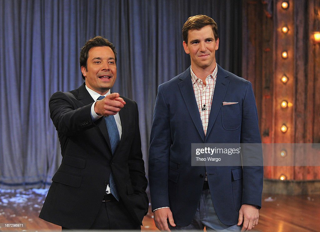 Jimmy Fallon and Eli Manning during a taping of 'Late Night With Jimmy Fallon' at Rockefeller Center on April 23, 2013 in New York City.