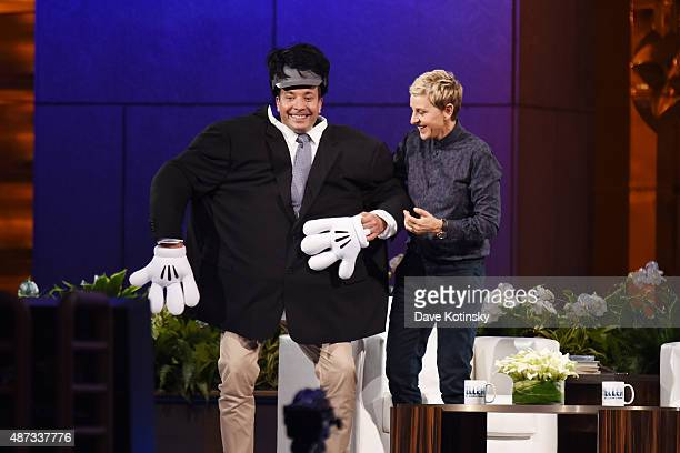 Jimmy Fallon and Ellen Degeneres appear at 'The Ellen Degeneres Show' Season 13 BiCoastal Premiere at Rockefeller Center on September 8 2015 in New...