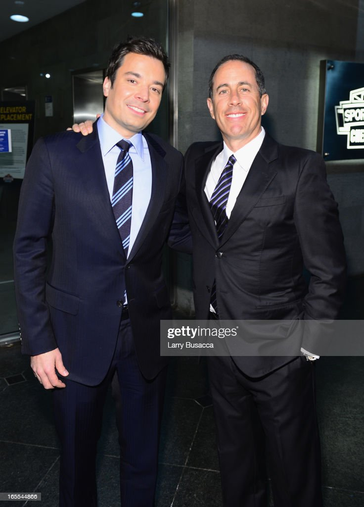 Jimmy Fallon and <a gi-track='captionPersonalityLinkClicked' href=/galleries/search?phrase=Jerry+Seinfeld&family=editorial&specificpeople=210541 ng-click='$event.stopPropagation()'>Jerry Seinfeld</a> attend SeriousFun Children's Network event honoring Liz Robbins with celebrity guests at Pier Sixty at Chelsea Piers on April 4, 2013 in New York City.