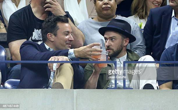 Jimmy Fallon and Justin Timberlake attend day ten of the 2015 US Open at USTA Billie Jean King National Tennis Center on September 9 2015 in the...