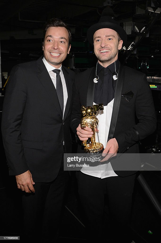 Jimmy Fallon and Justin Timberlake attend the 2013 MTV Video Music Awards at the Barclays Center on August 25, 2013 in the Brooklyn borough of New York City.