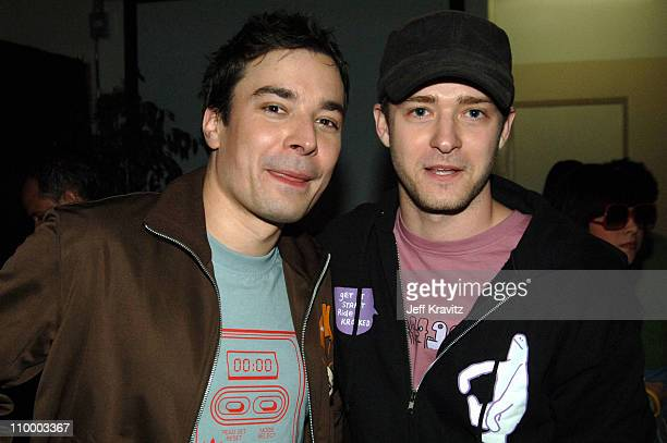 Jimmy Fallon and Justin Timberlake during Nickelodeon's 18th Annual Kids Choice Awards Backstage and Audience at Pauley Pavillion in Los Angeles...