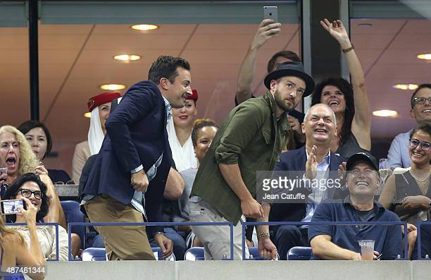 Jimmy Fallon and Justin Timberlake seen dancing on day 10 of the 2015 US Open at USTA Billie Jean King National Tennis Center on September 9 2015 in...