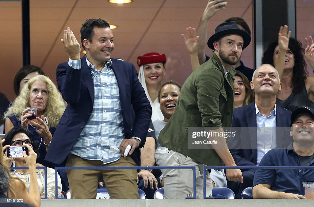 Jimmy Fallon and Justin Timberlake seen dancing on day 10 of the 2015 US Open at USTA Billie Jean King National Tennis Center on September 9, 2015 in the Flushing neighborhood of the Queens borough of New York City.